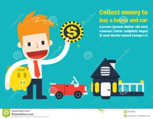 collect-money-to-buy-house-car-vector-cartoon-business-43930969